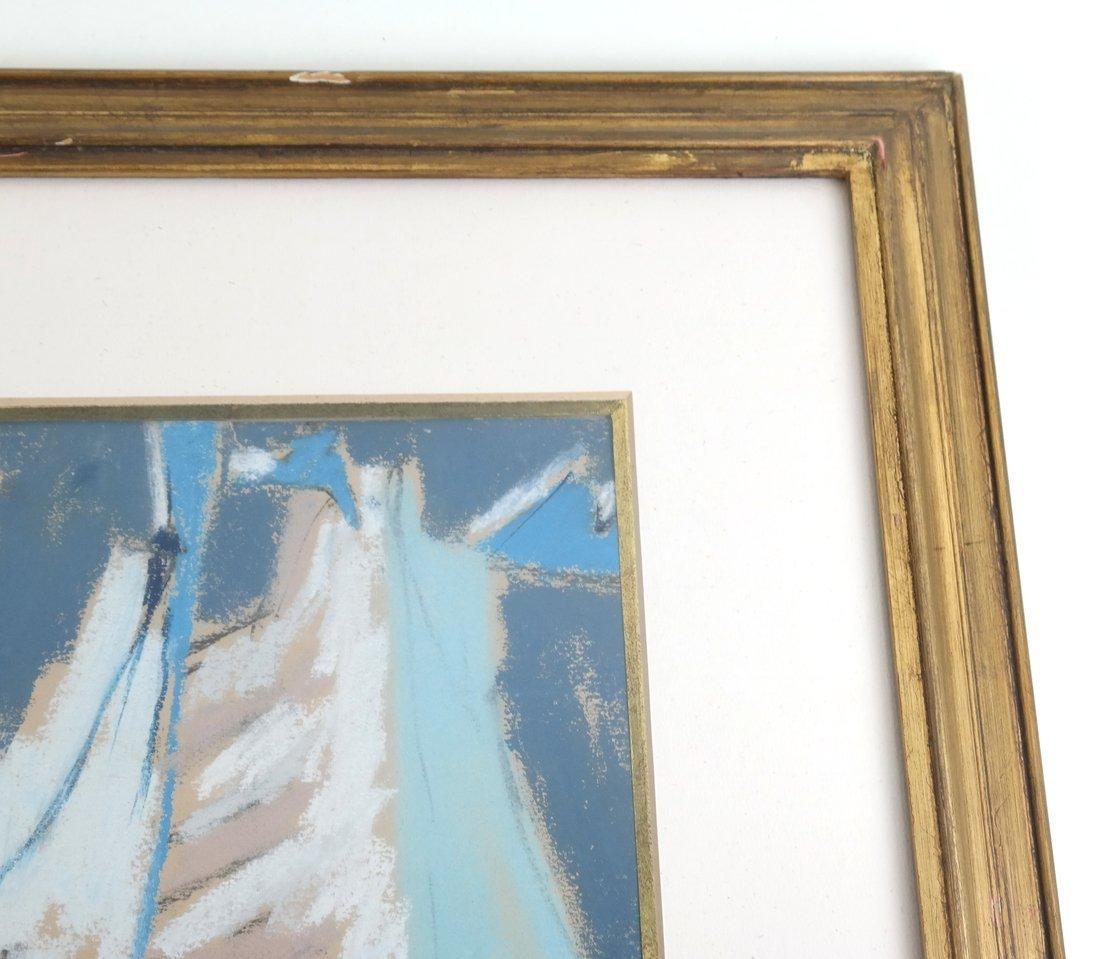 Framed Abstract Harbor Scene on Paper - 5