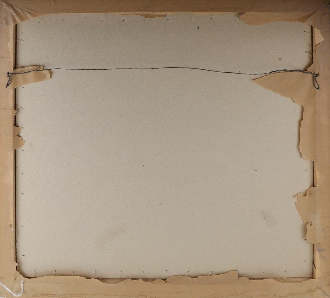 Framed Abstract Harbor Scene on Paper - 6