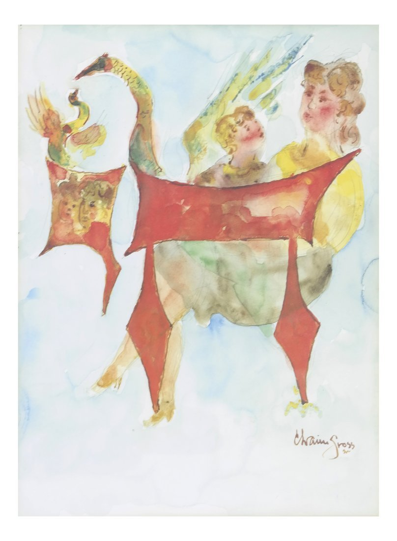 Chaim Gross, Watercolor/Pencil on Paper