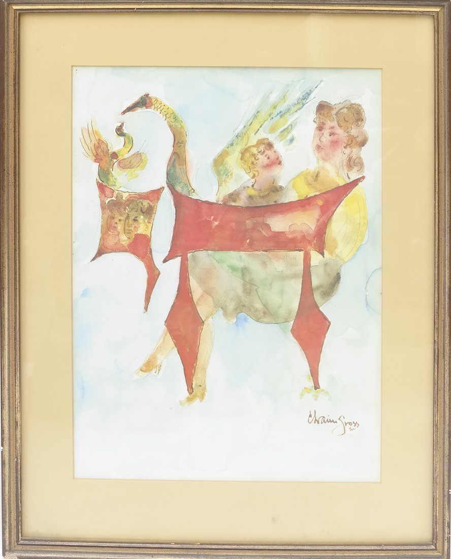 Chaim Gross, Watercolor/Pencil on Paper - 2