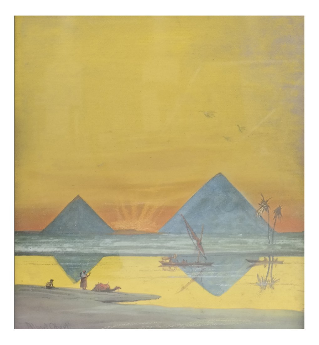 A J Operti, Sunrise on the Nile, Gouache