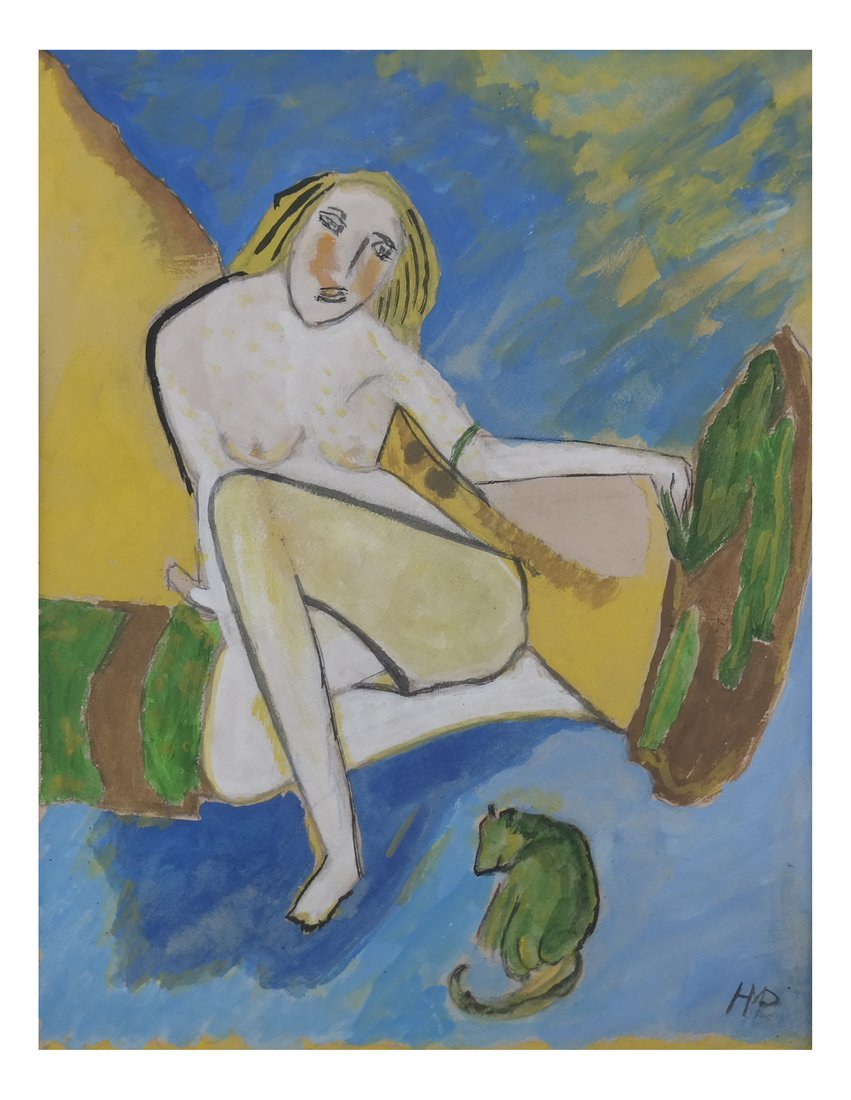 Manner of H M Pechstein, Nude w/ Cat, Gouache/Paper