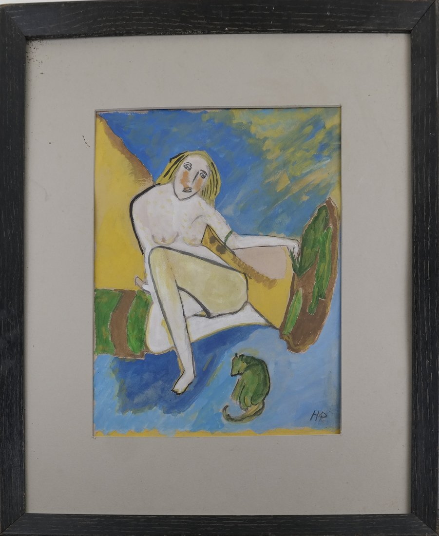 Manner of H M Pechstein, Nude w/ Cat, Gouache/Paper - 2