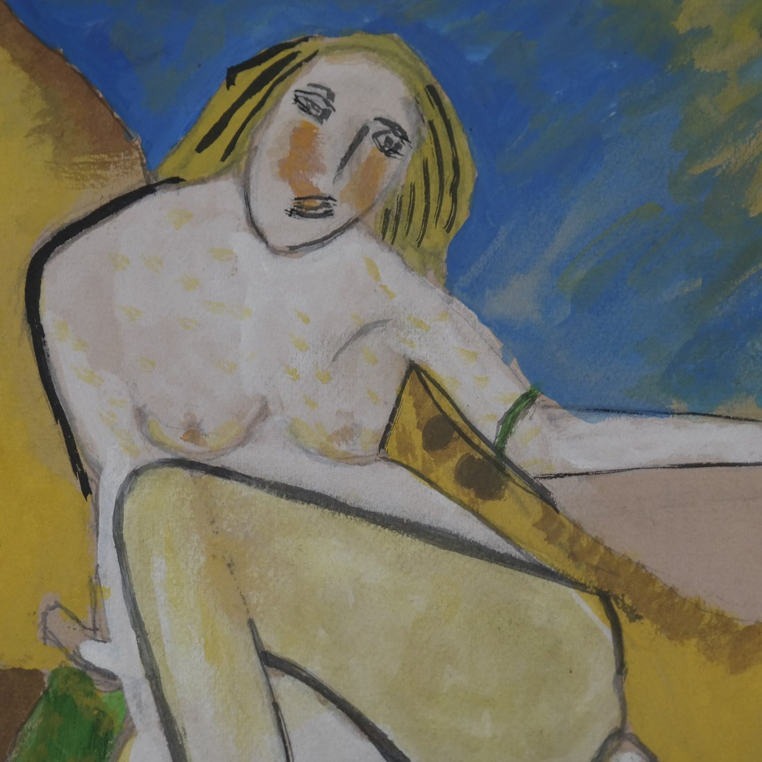 Manner of H M Pechstein, Nude w/ Cat, Gouache/Paper - 3