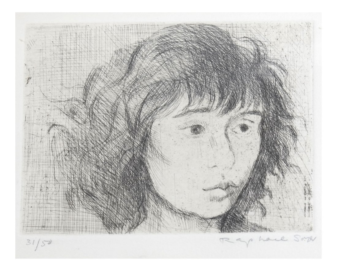 Raphael Soyer, Framed Portrait Etching