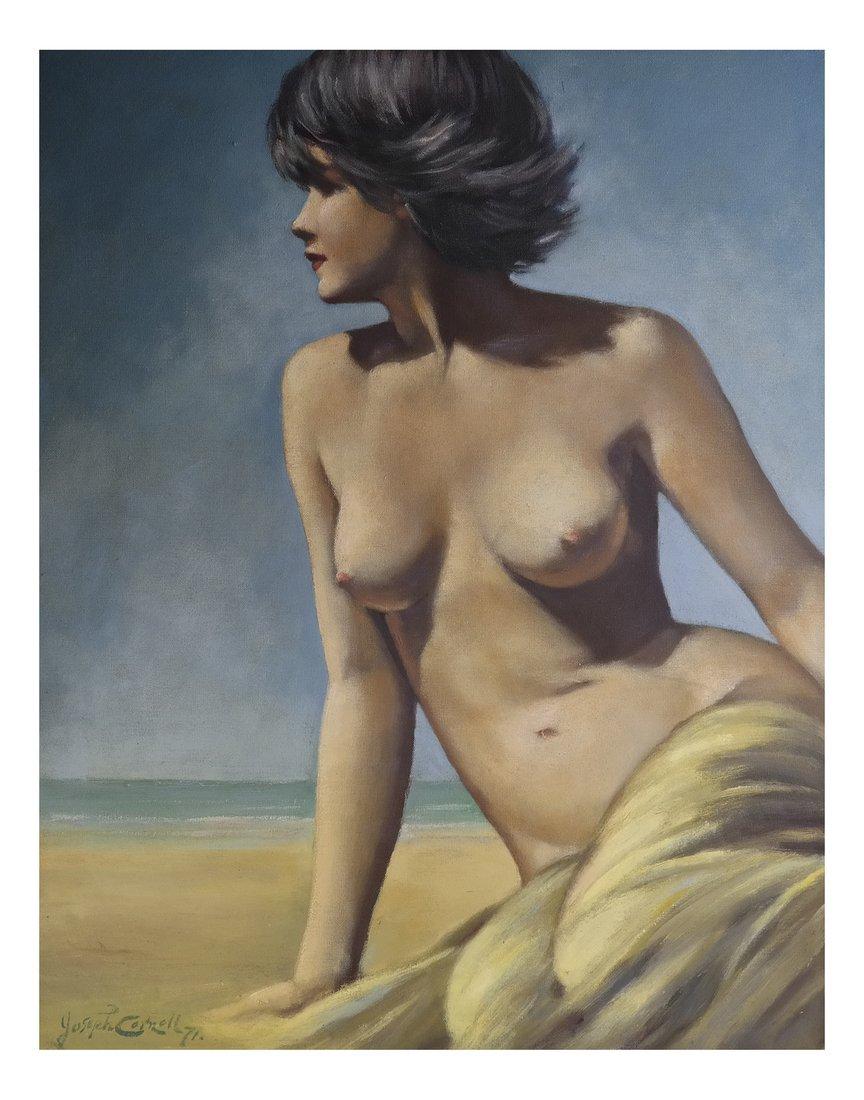 Joseph Cornwell, Nude at Beach, o/c