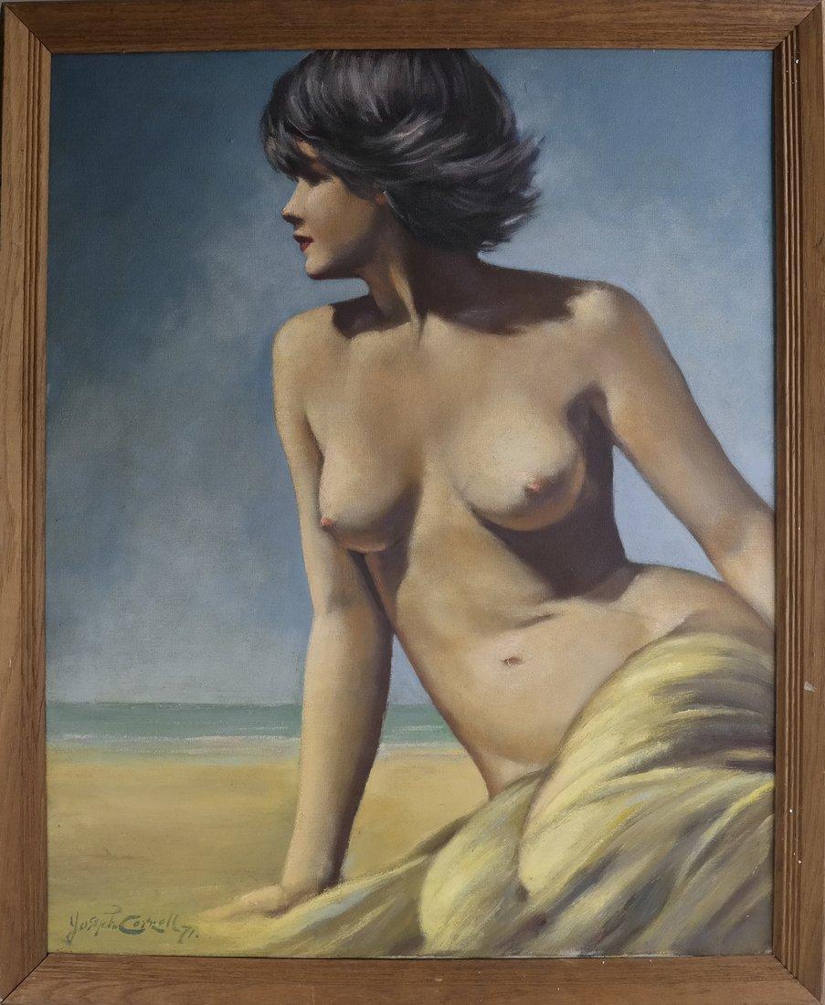 Joseph Cornwell, Nude at Beach, o/c - 2
