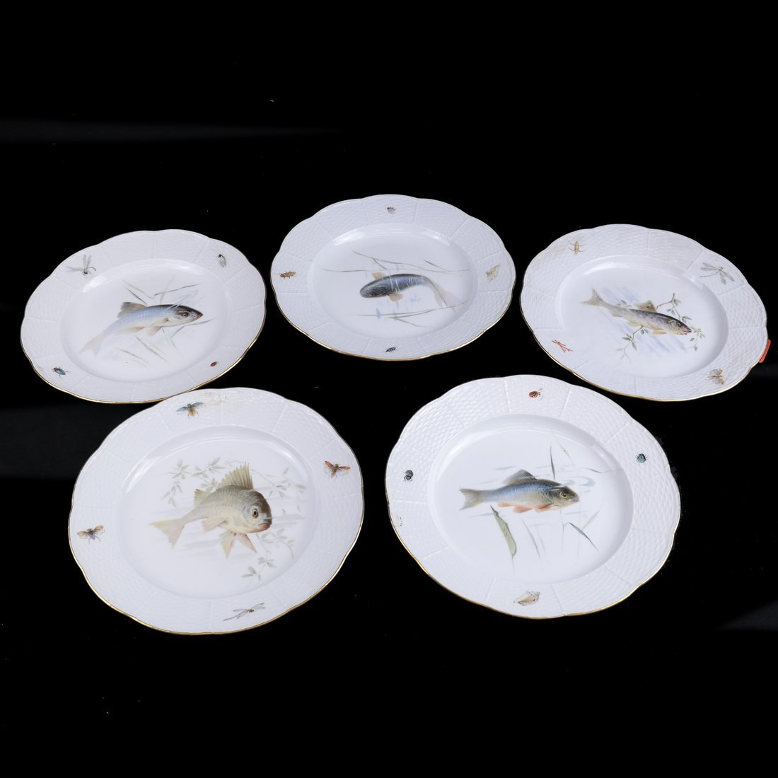 Set of 5 Meissen Porcelain Fish Plates