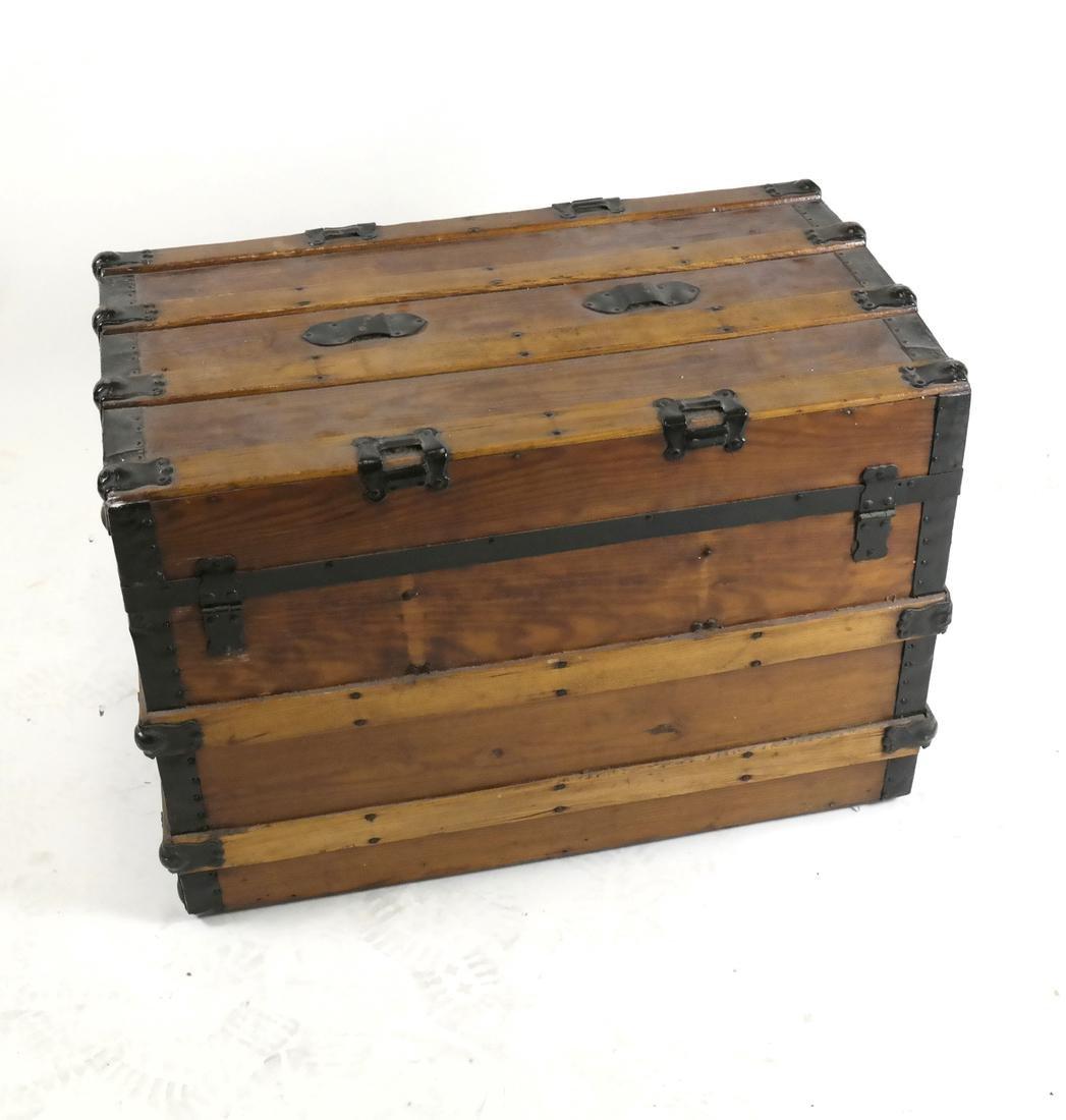 Antique Wooden Steamer Trunk - 2