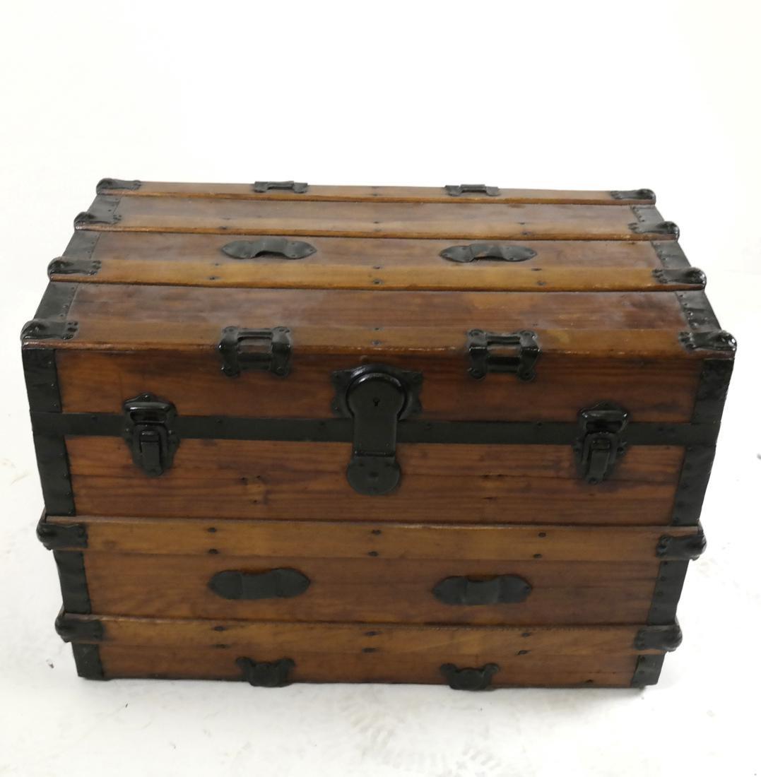 Antique Wooden Steamer Trunk - 3