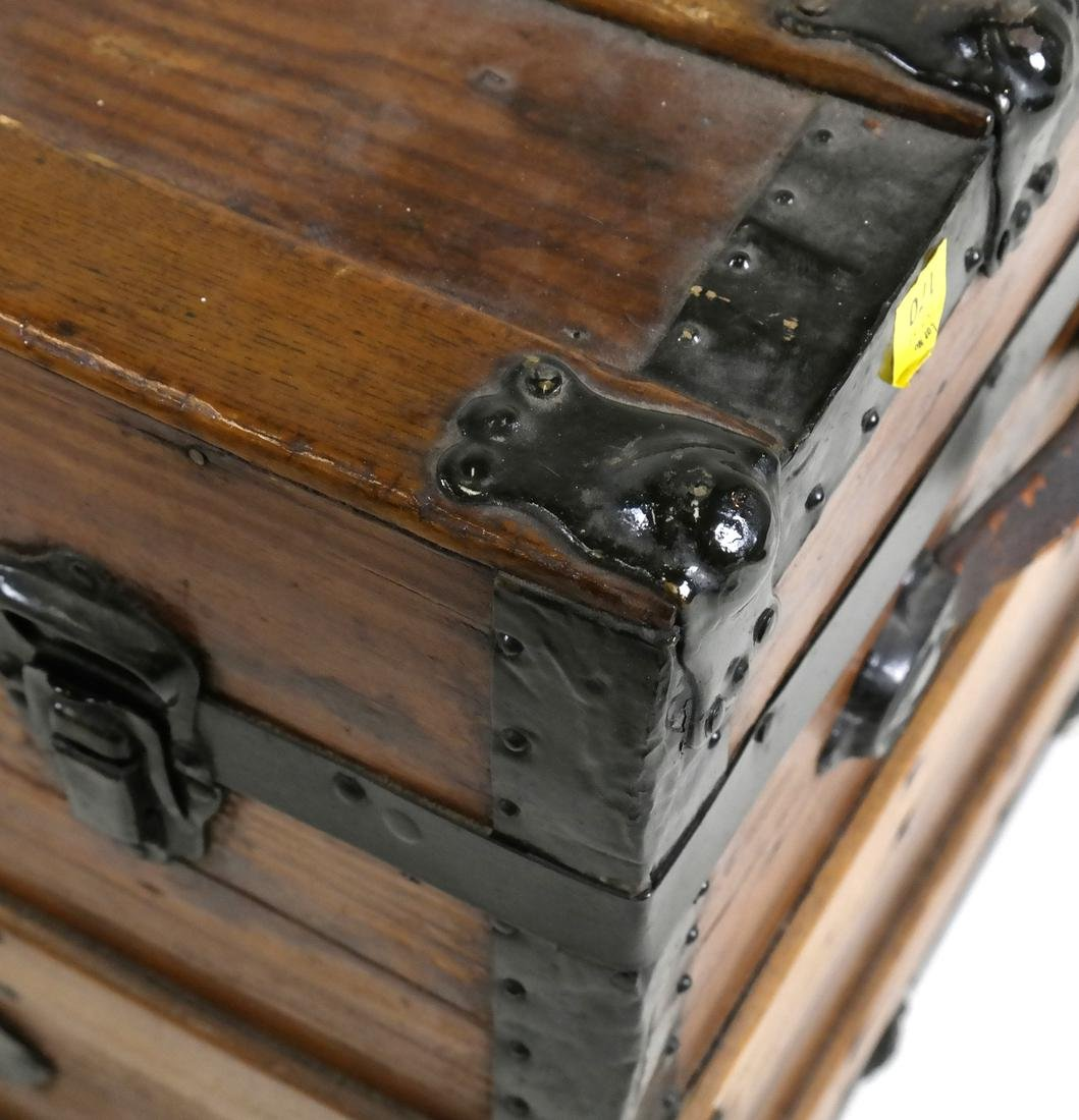Antique Wooden Steamer Trunk - 4
