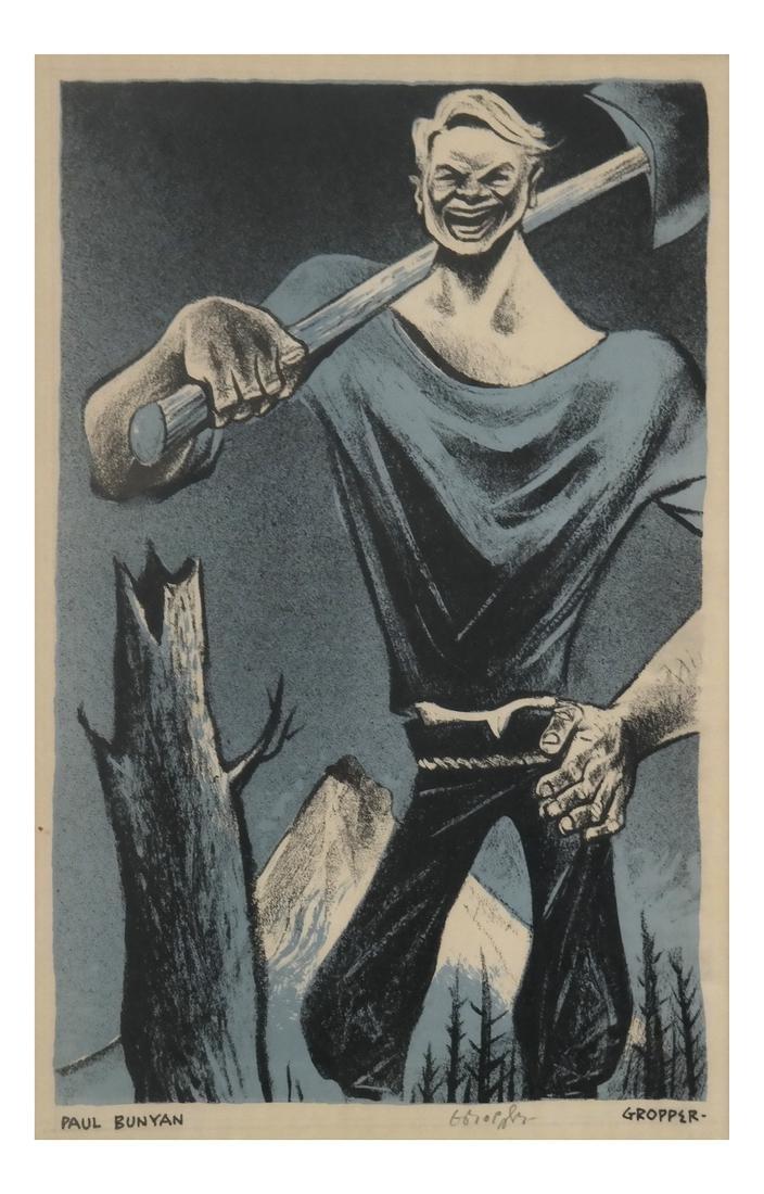 William Gropper, Paul Bunyan, Woodcut