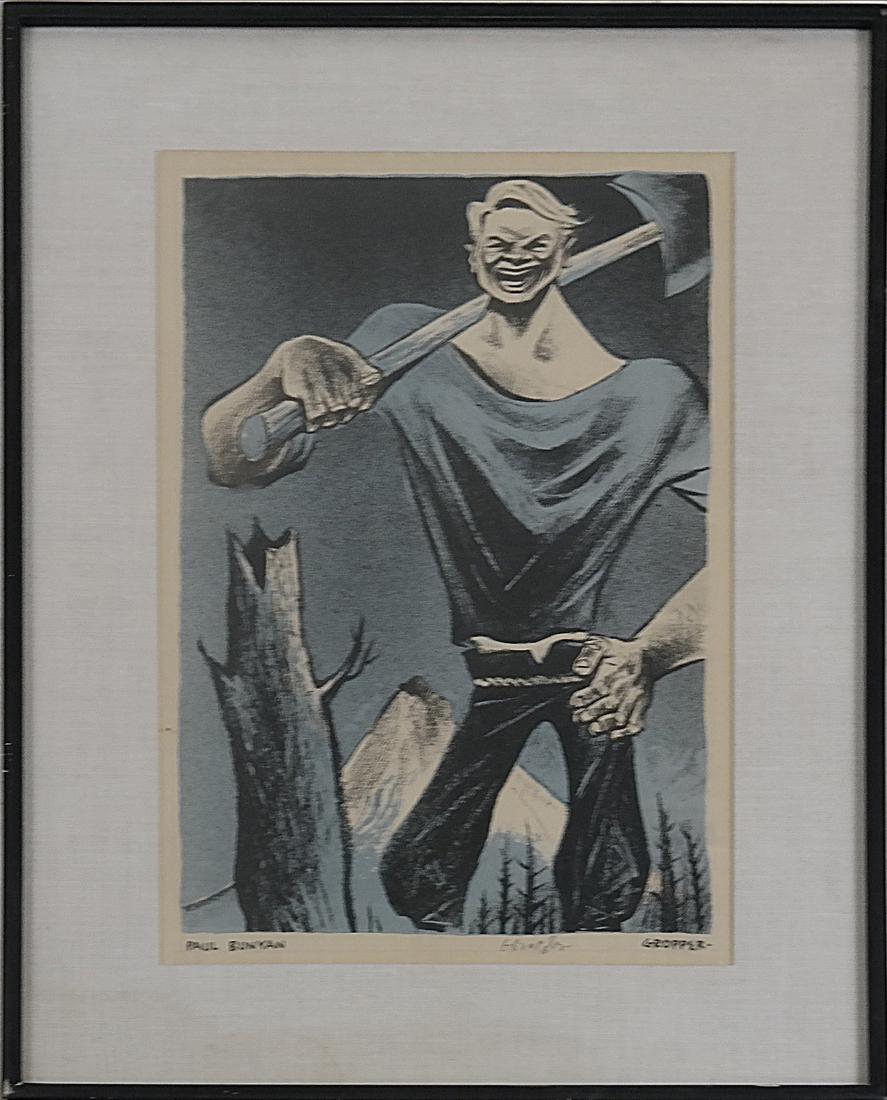 William Gropper, Paul Bunyan, Woodcut - 2