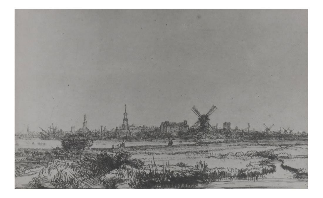 After Rembrandt, Etching - View of Amsterdam