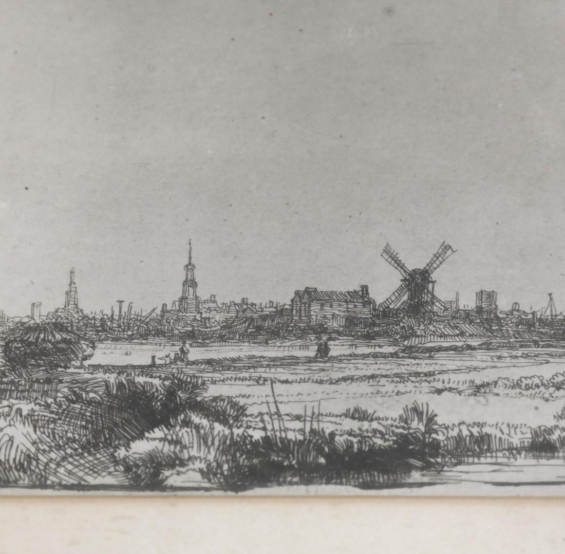After Rembrandt, Etching - View of Amsterdam - 3