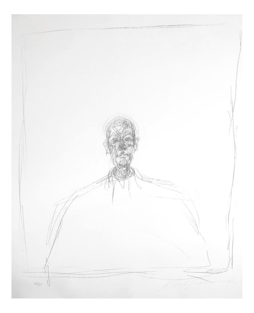 Giacometti, Buste D'Homme - Lithograph