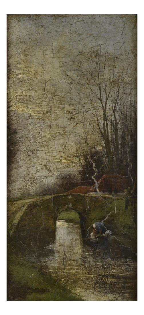 Woman at a Creek, Oil on Board