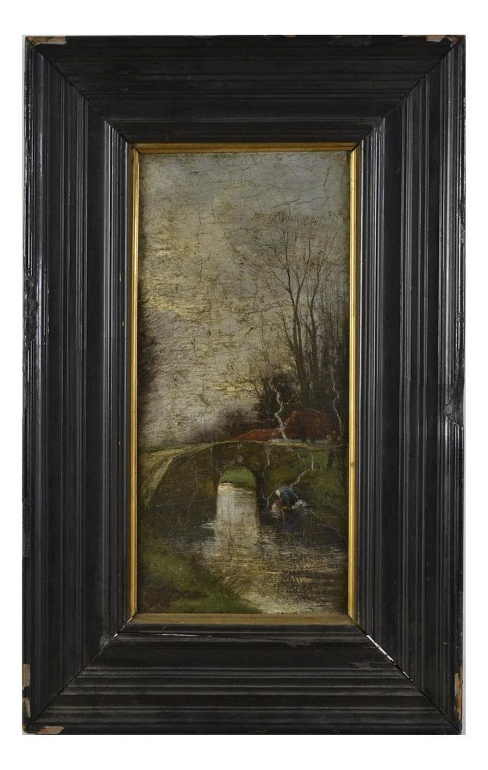 Woman at a Creek, Oil on Board - 2