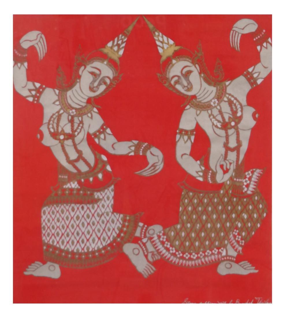 Thai Framed Textile, Ceremonial Dancers