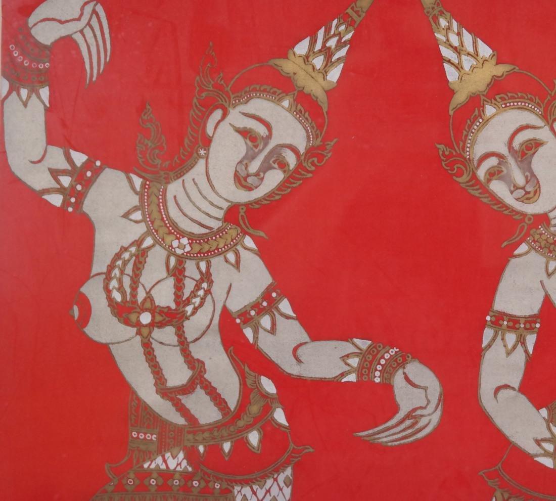 Thai Framed Textile, Ceremonial Dancers - 5