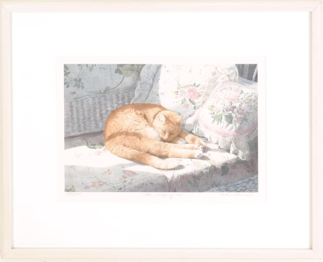 Sleeping Cat, Framed Colored Lithograph - 2