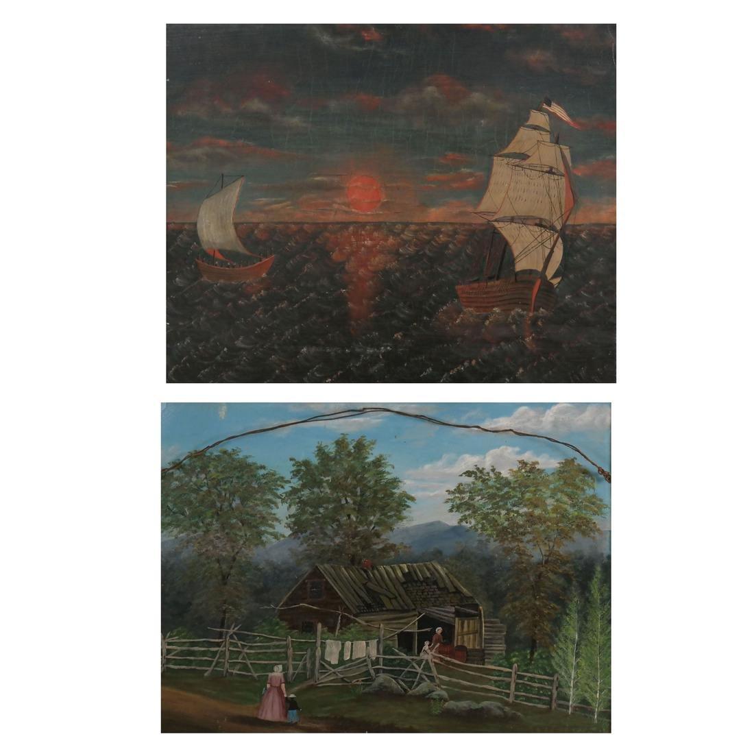 Folk Art 2-Sided Landscape, oil/masonite