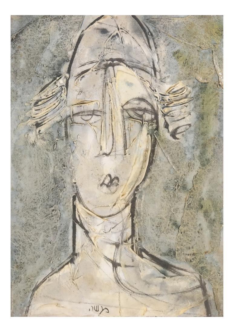 Cubist Style Portrait Bust, Oil/Canvas