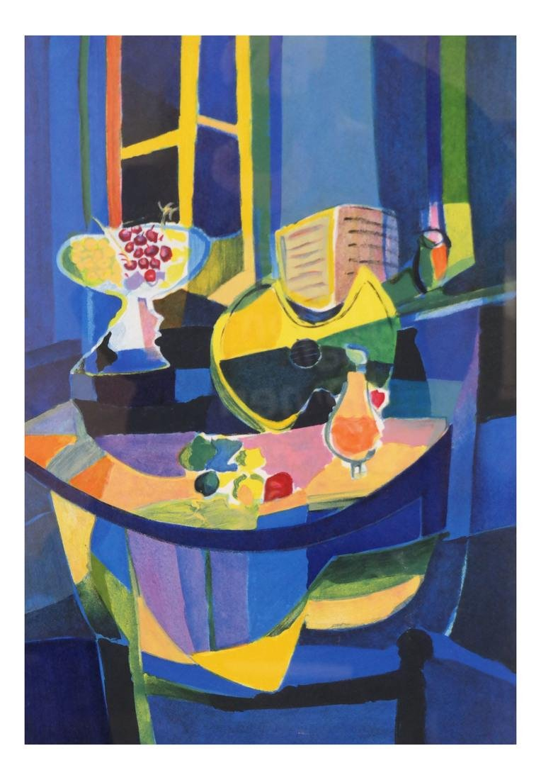 Framed Cubist Style Still Life Lithograph