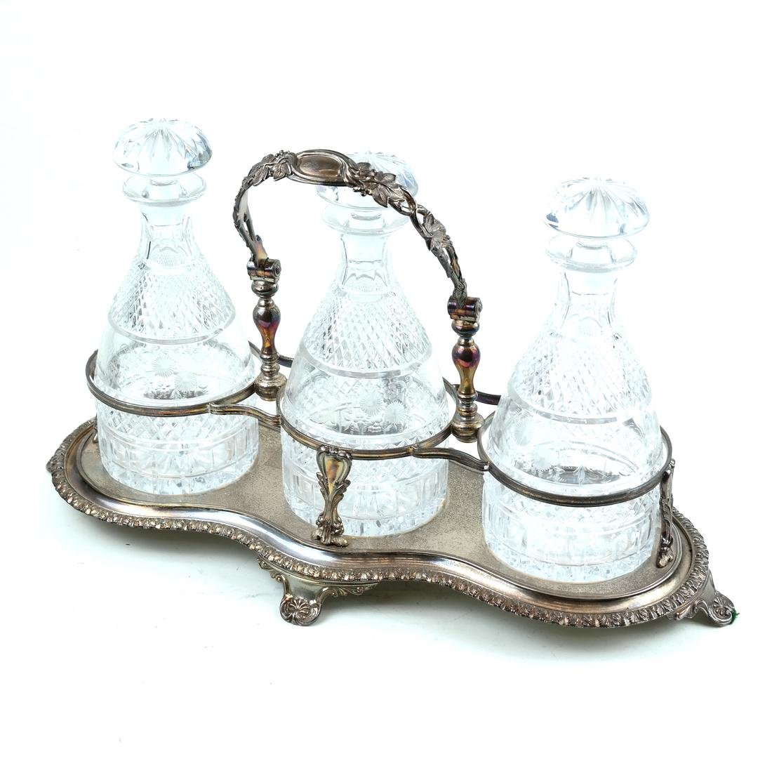 Silver-Plated and Crystal Tantalus Set