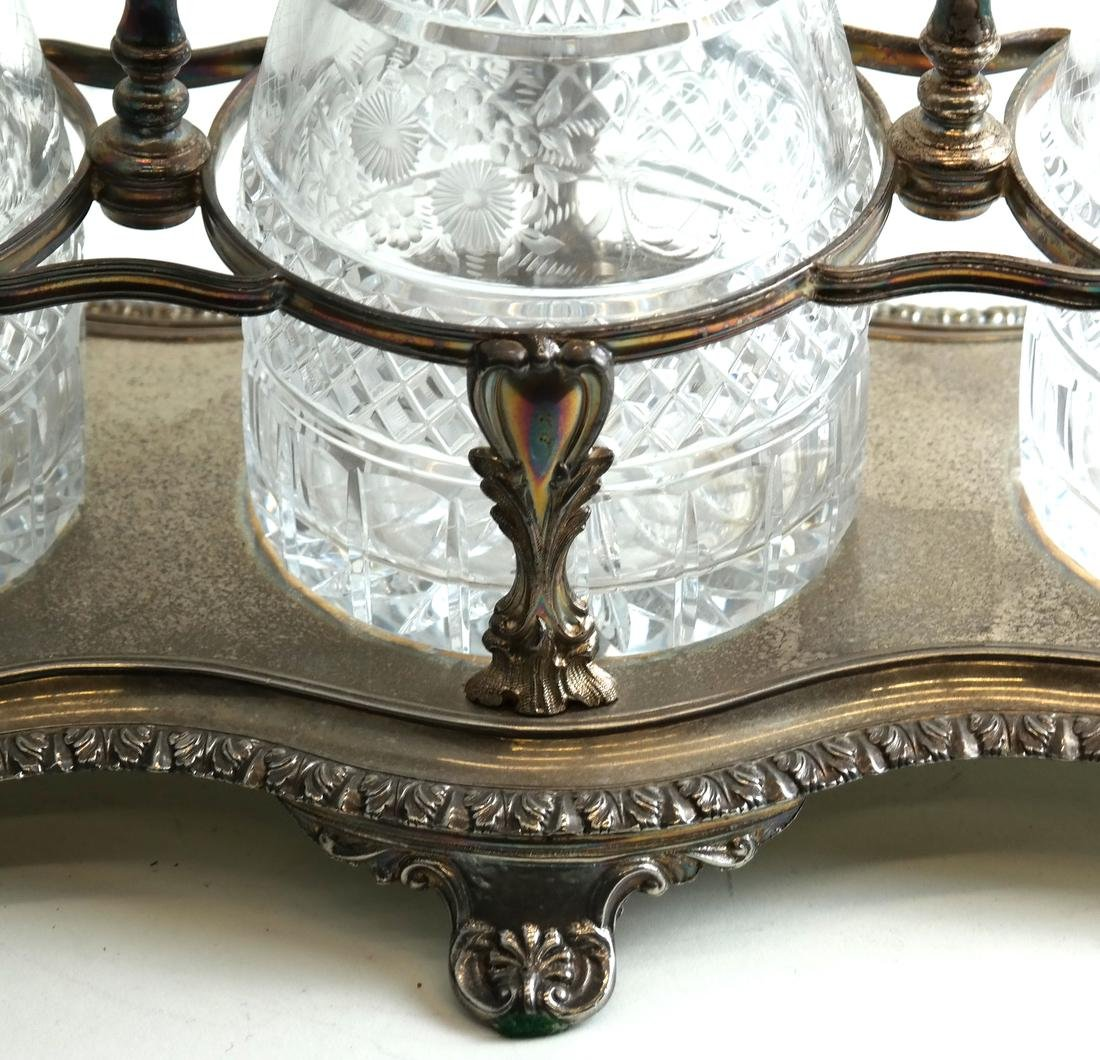 Silver-Plated and Crystal Tantalus Set - 6