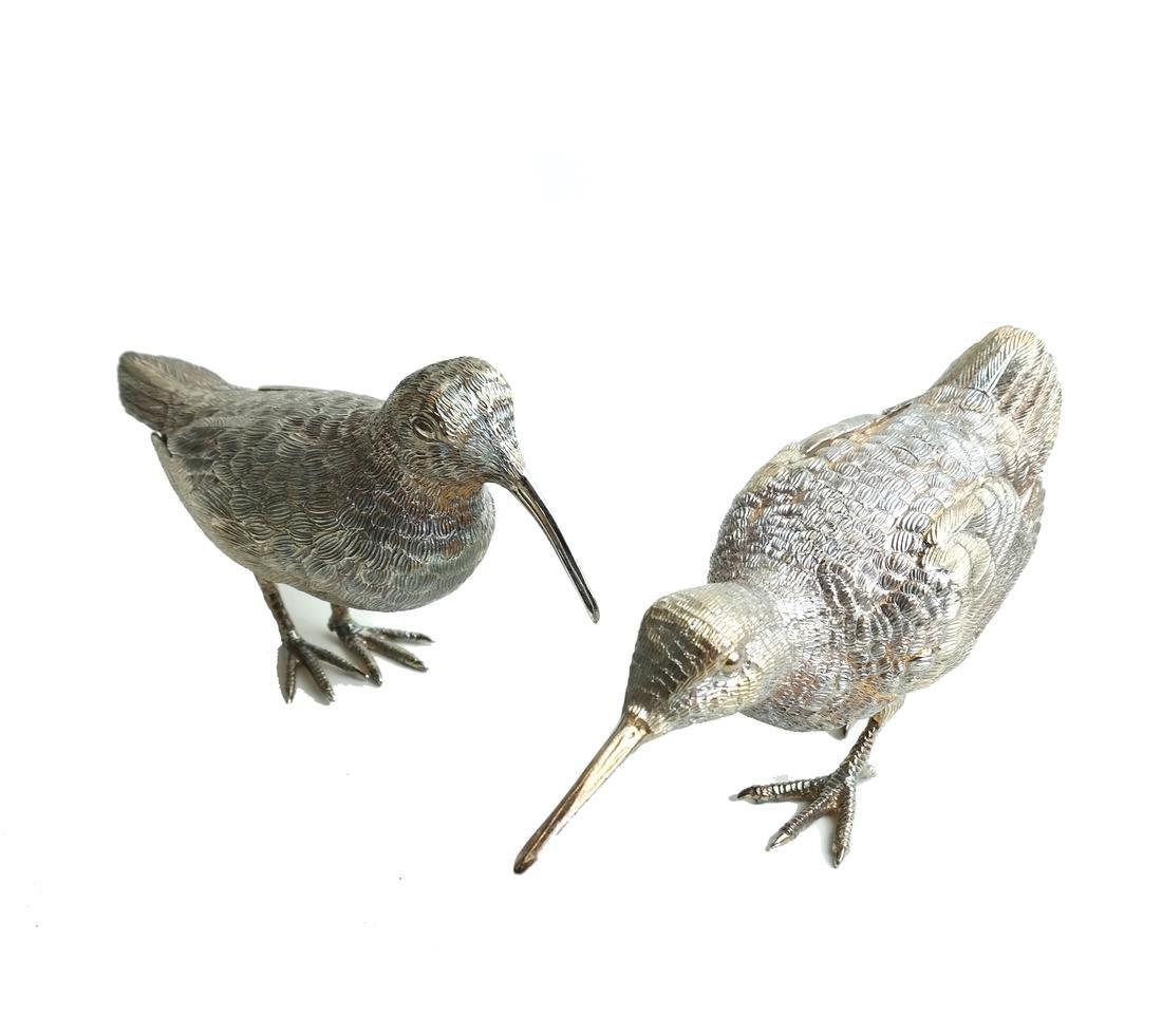 Pair Low Grade Silver Birds