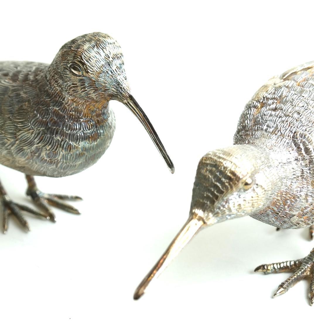 Pair Low Grade Silver Birds - 2