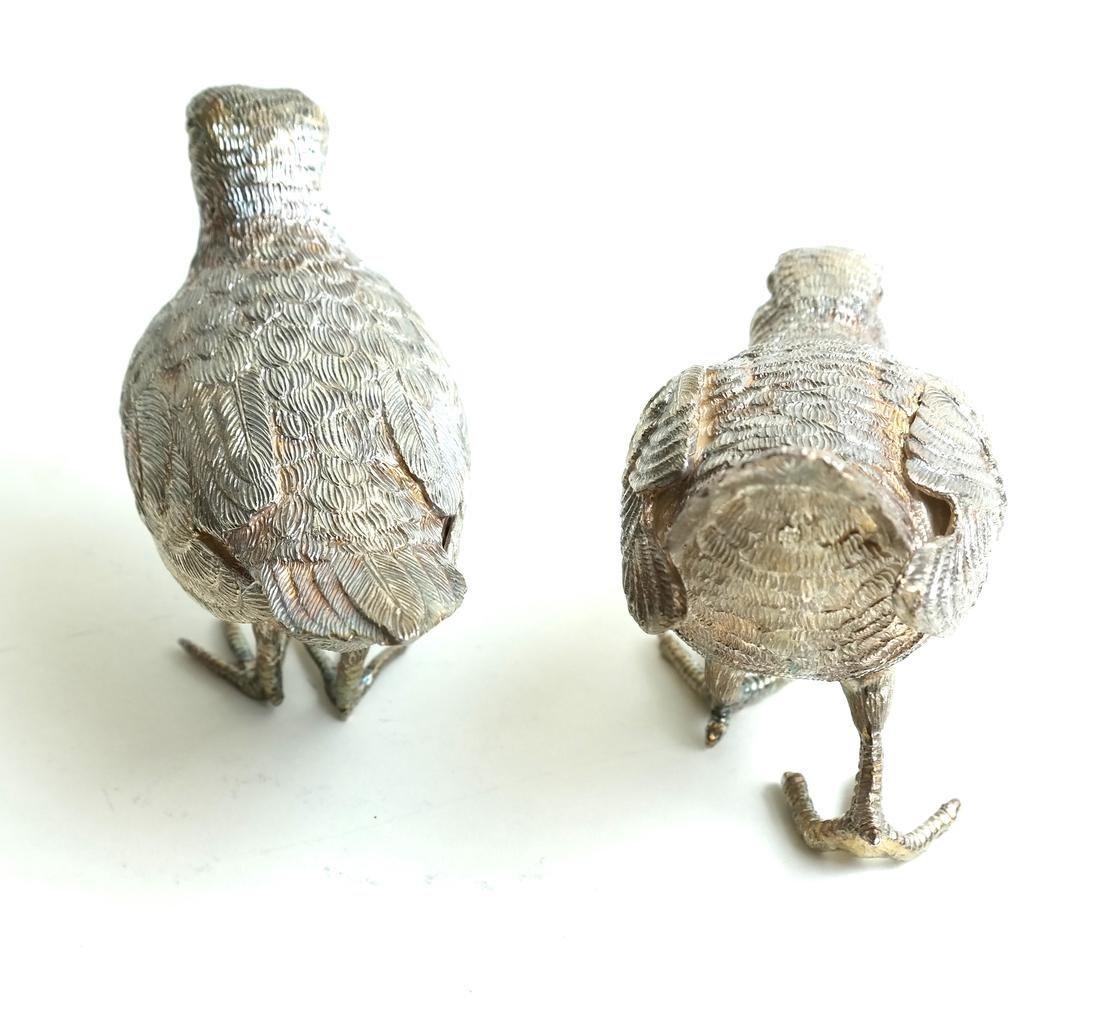 Pair Low Grade Silver Birds - 5
