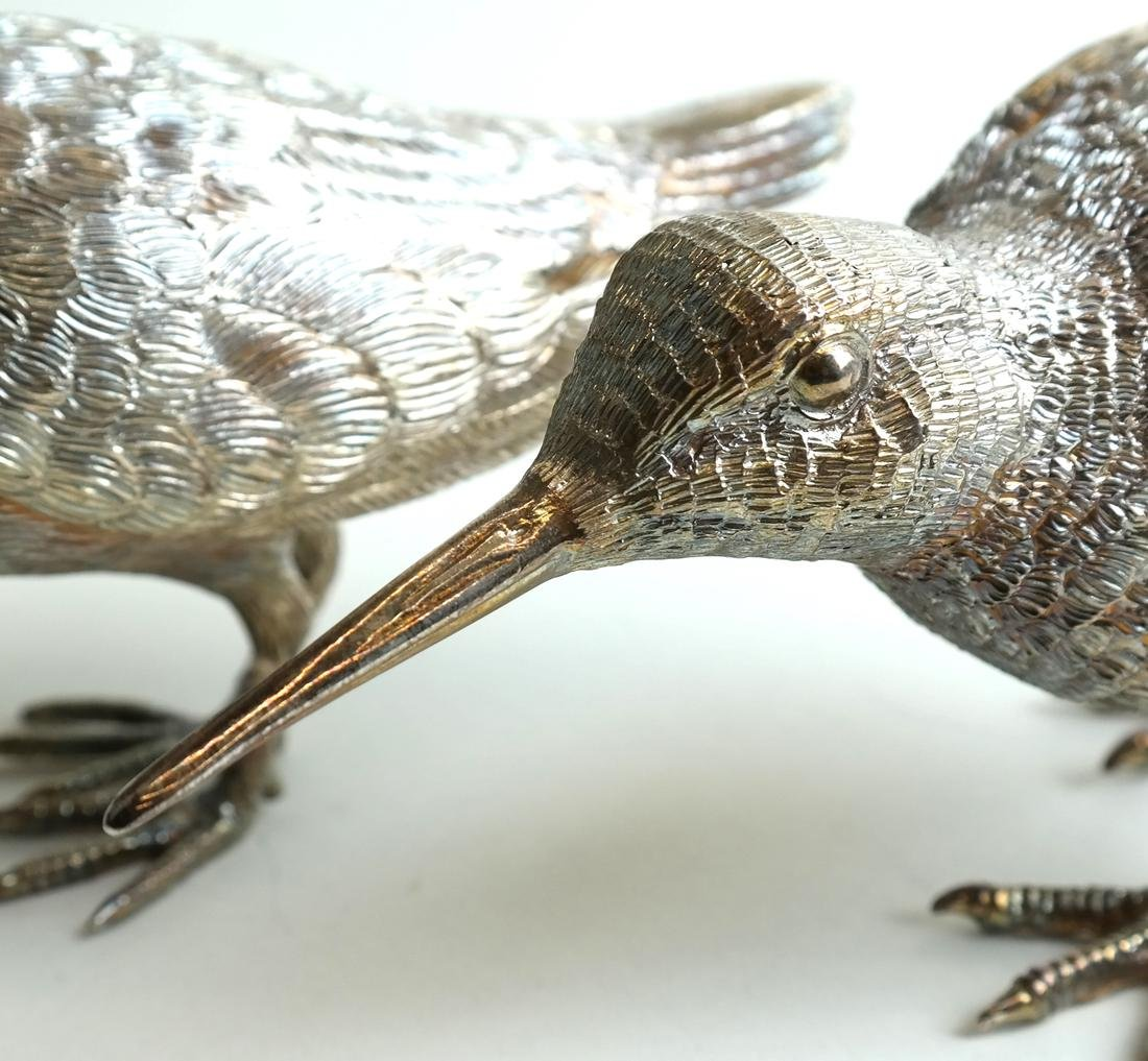 Pair Low Grade Silver Birds - 8