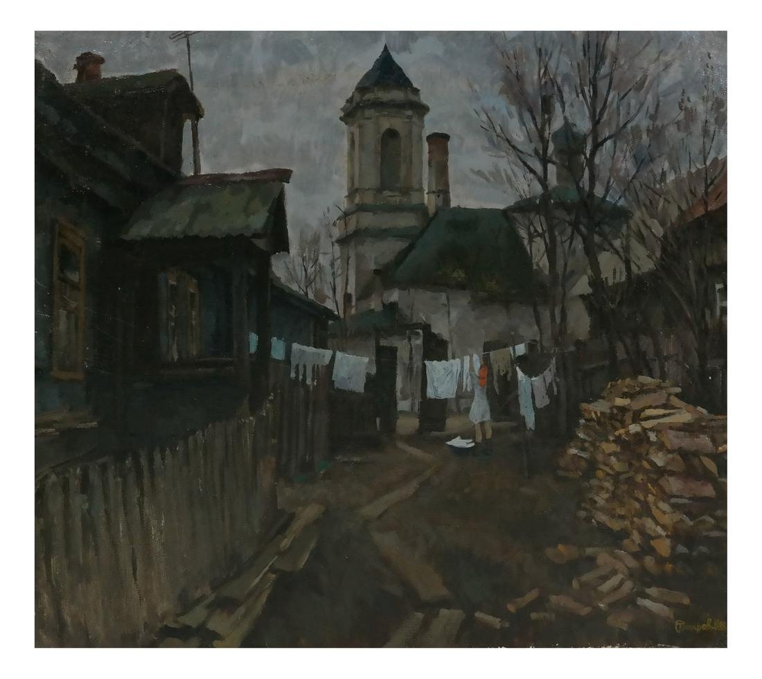 Village Scene, Oil on Canvas
