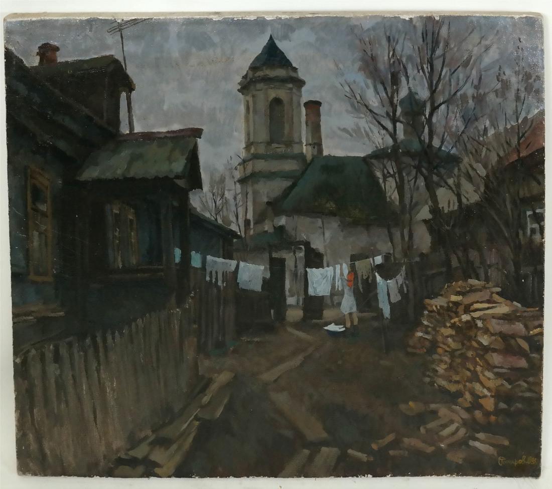 Village Scene, Oil on Canvas - 2