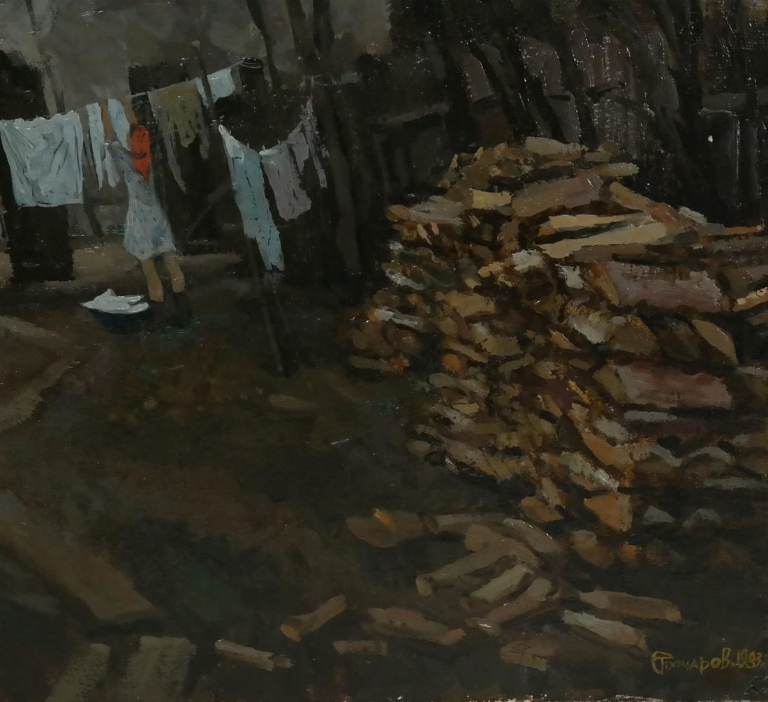 Village Scene, Oil on Canvas - 3