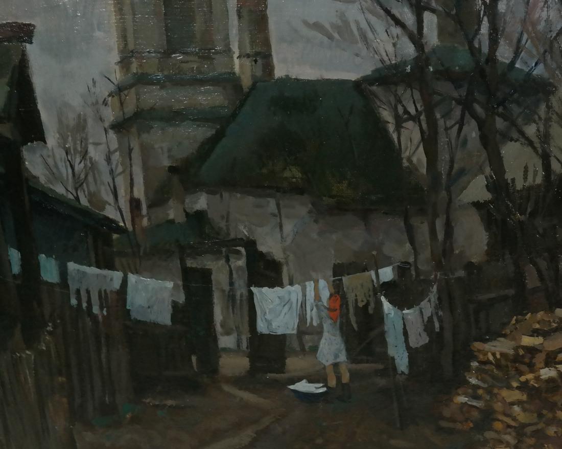 Village Scene, Oil on Canvas - 4