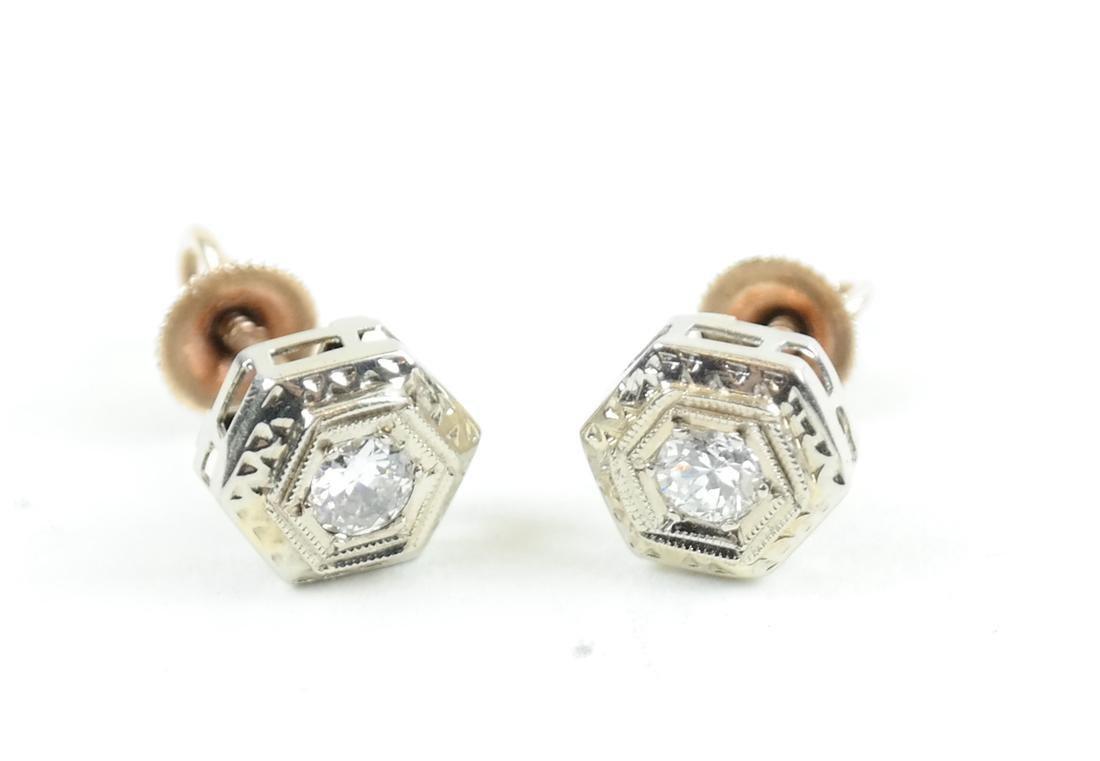 14K White Gold  Art Deco Diamond Studs