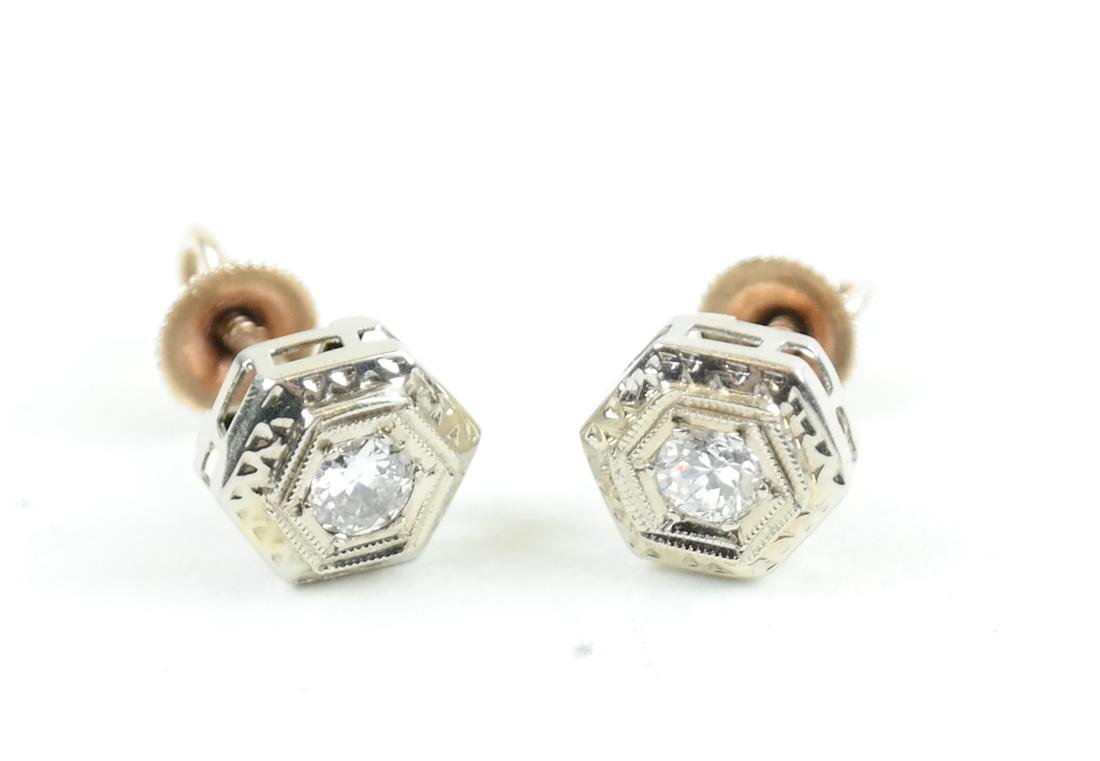 14K White Gold  Art Deco Diamond Studs