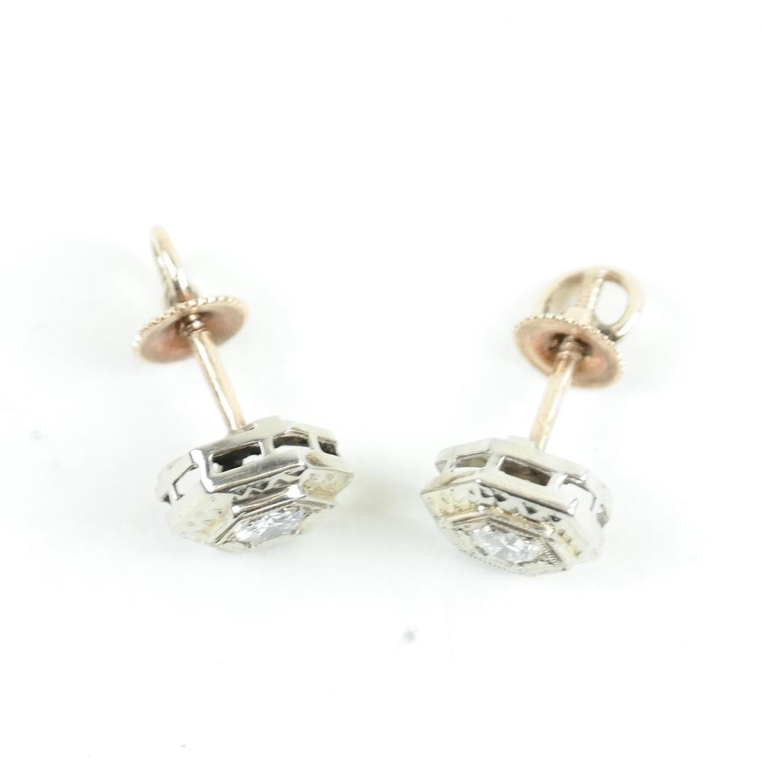14K White Gold  Art Deco Diamond Studs - 2