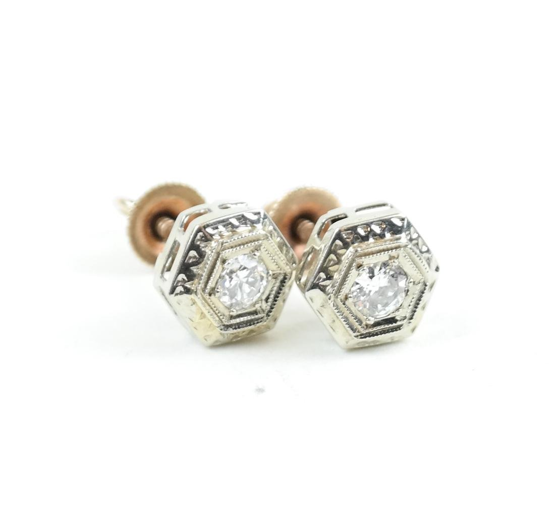 14K White Gold  Art Deco Diamond Studs - 4