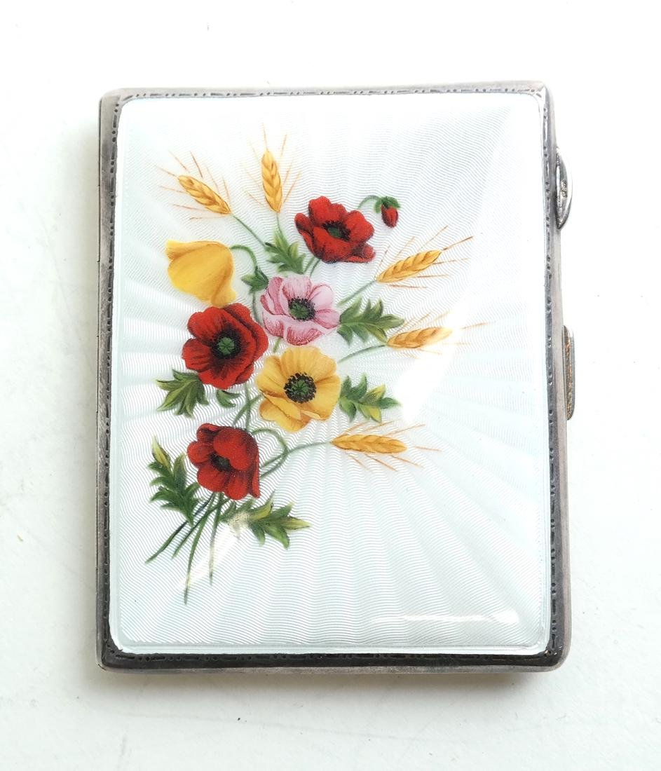 English Silver and Enamel Compact - 2
