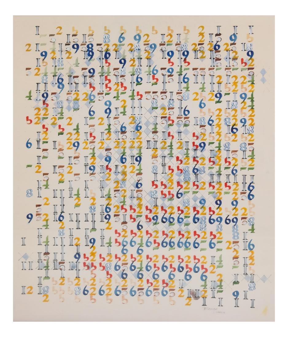 Boyce Benge, Numbers, Oil On Carton