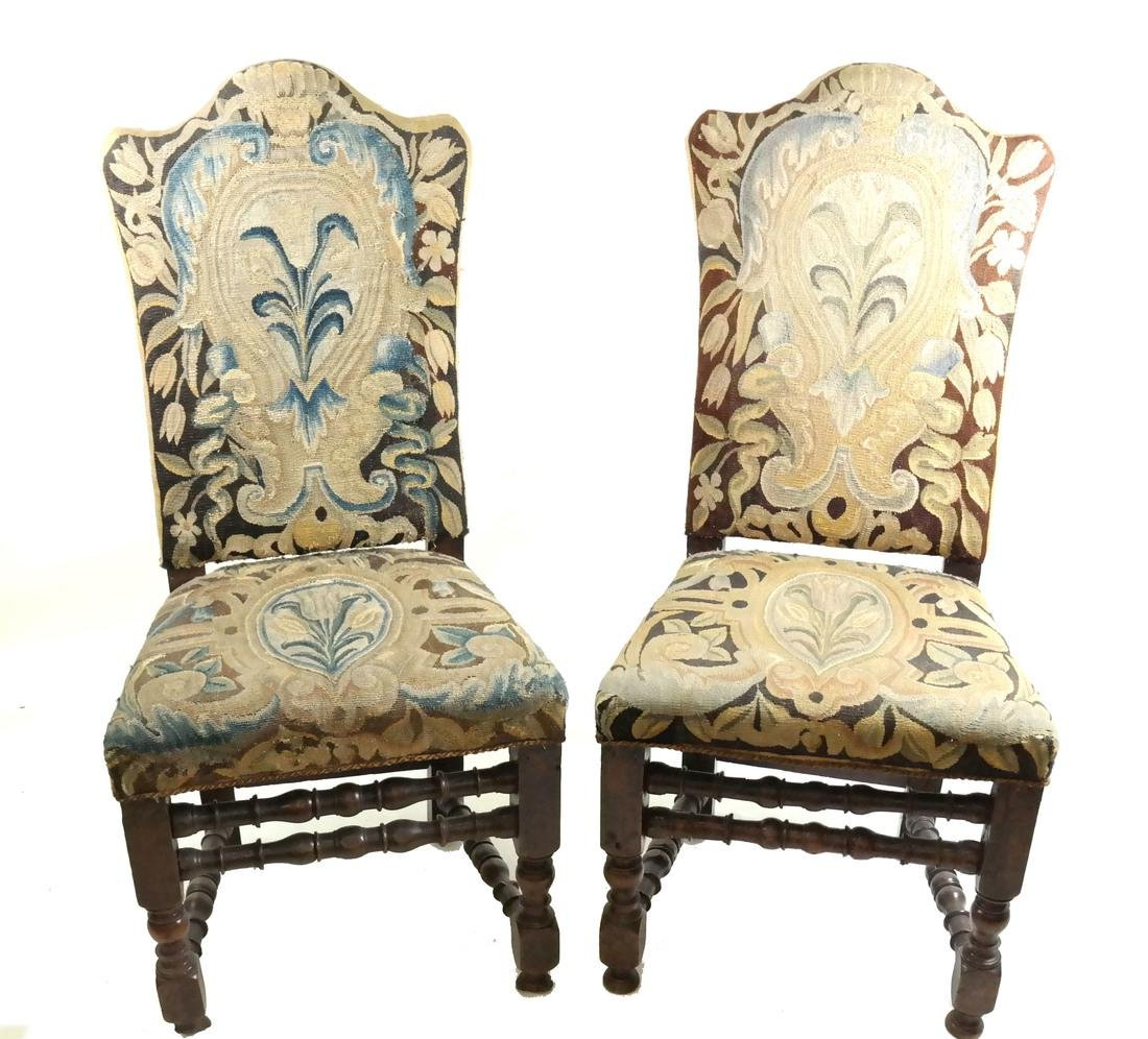 Pair of 18th C. Tapestry Side Chairs