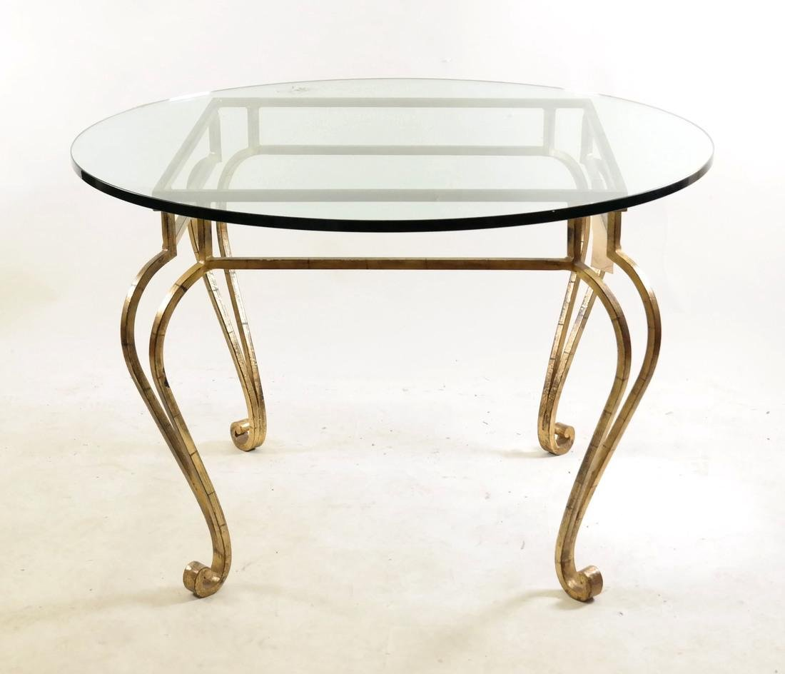 Gilt Steel & Glass Top Table