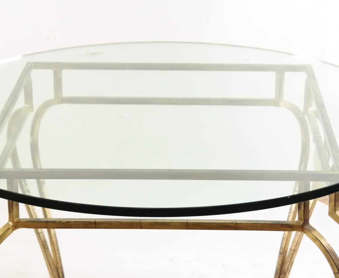 Gilt Steel & Glass Top Table - 4
