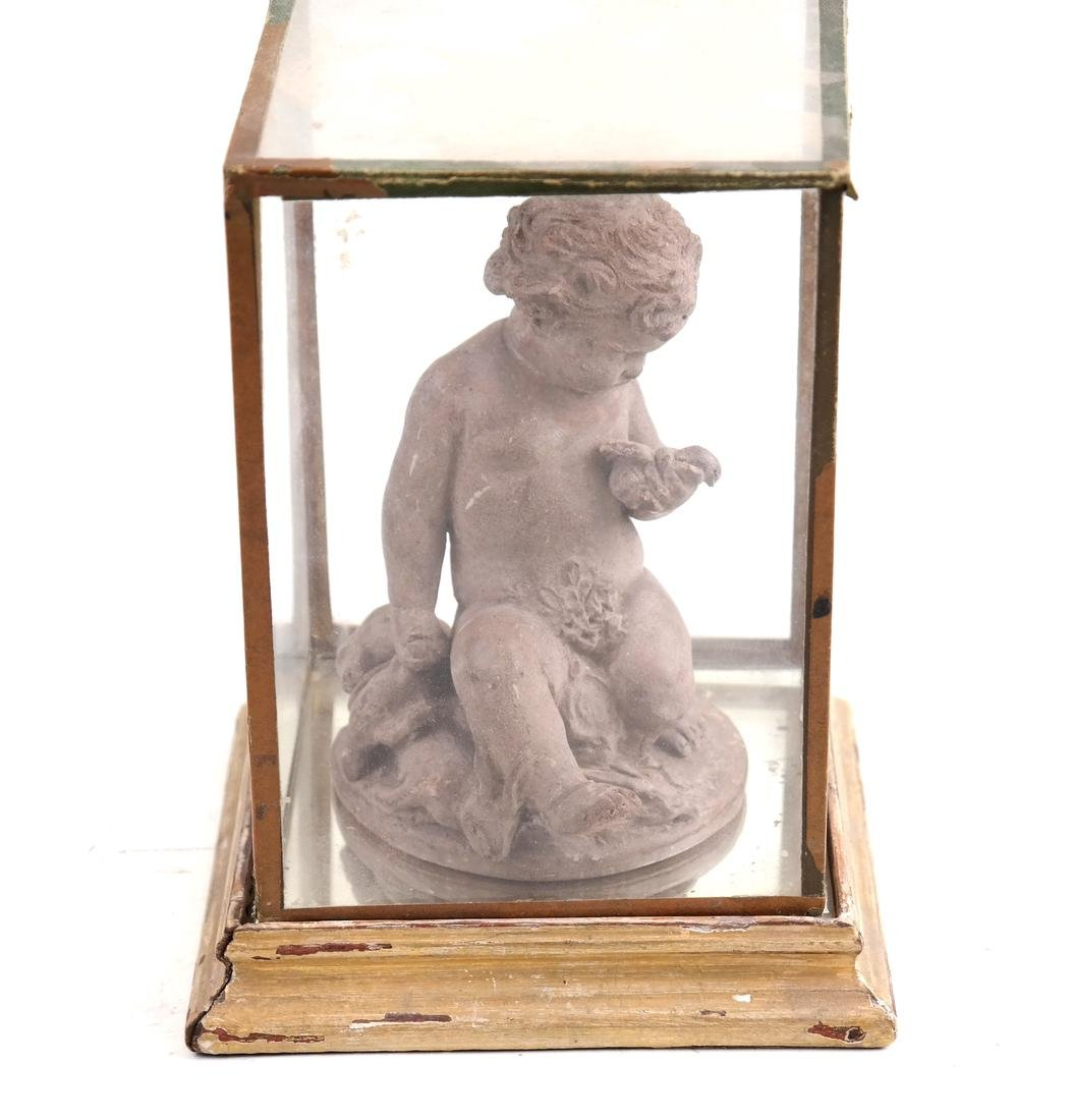 Terra Cotta Cupid Figure and Display Box - 2