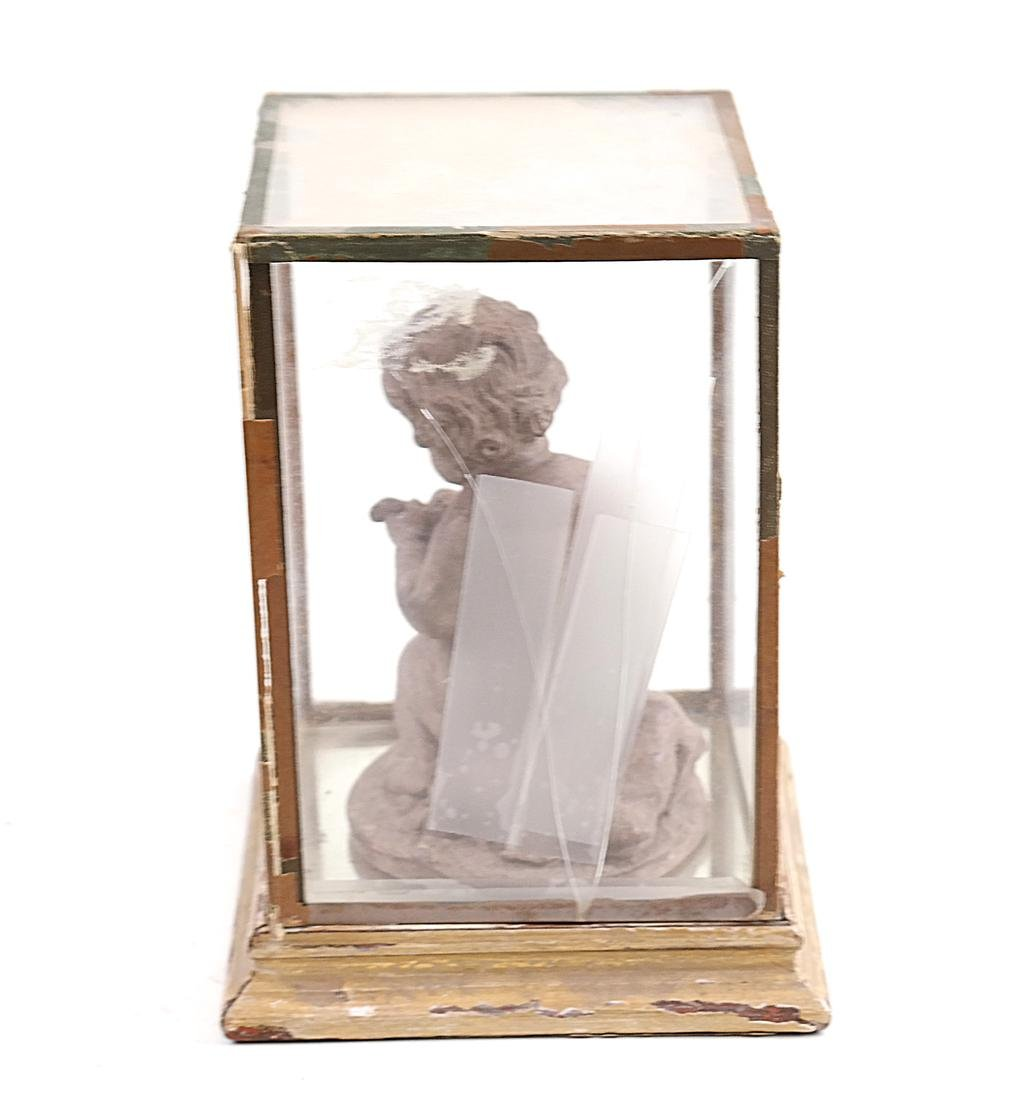 Terra Cotta Cupid Figure and Display Box - 3