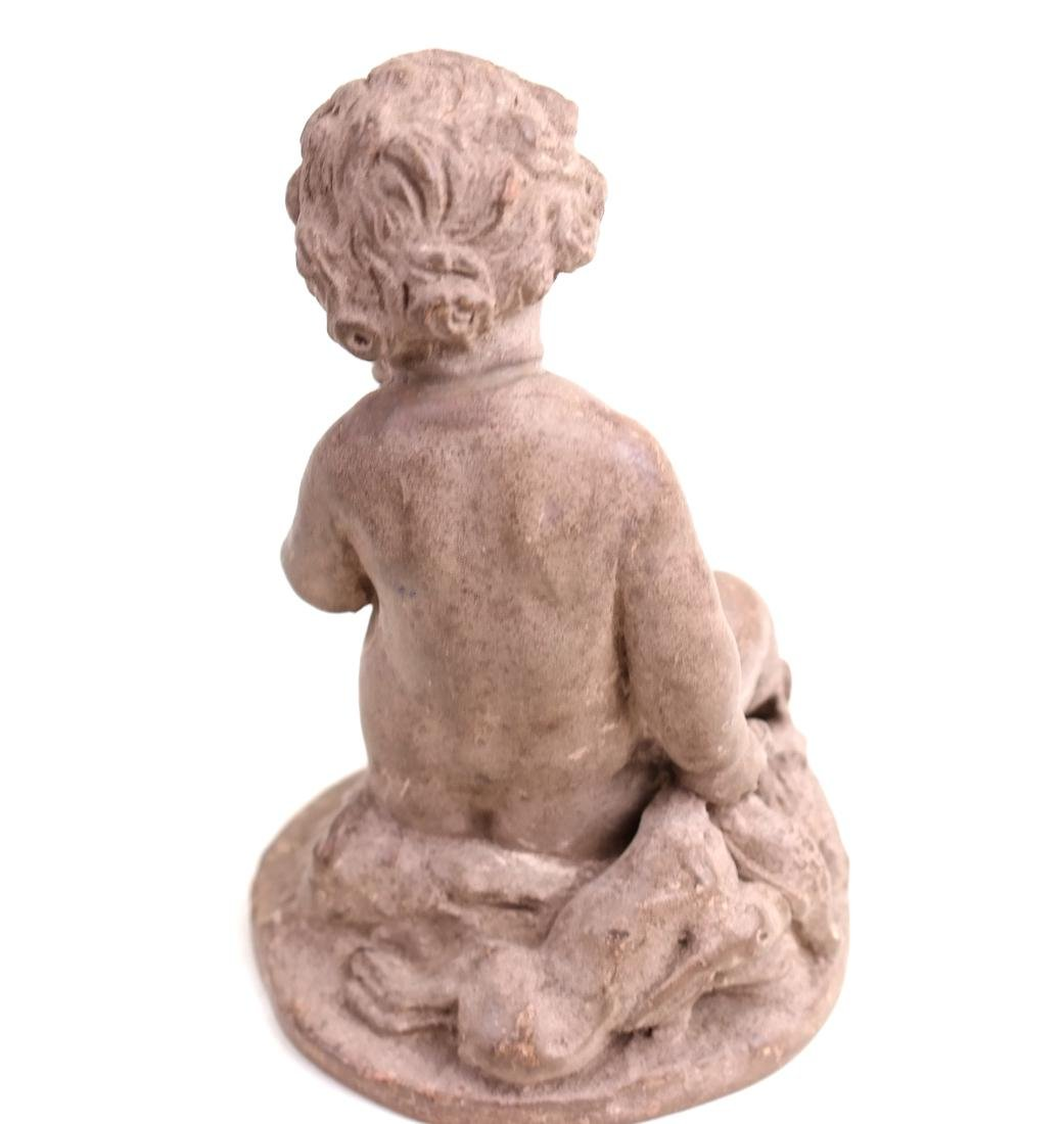 Terra Cotta Cupid Figure and Display Box - 6